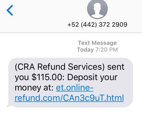 Canada Tax Refund Text Scam